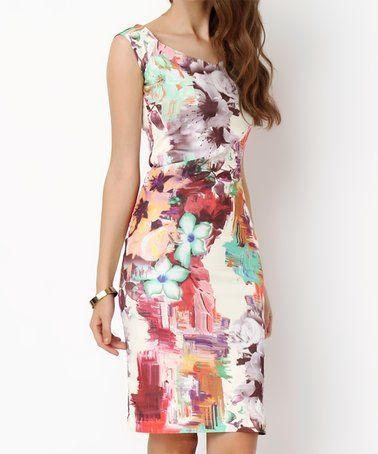 Another great find on #zulily! Red & Purple Floral Abstract Midi Dress #zulilyfinds