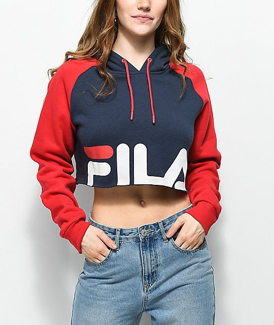 05a78bcff3e FILA Luciana Navy & Red Crop Hoodie | Fashion | Fila outfit, Cropped ...