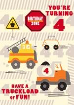 A generic 4th birthday card Probably would suit a boy the best