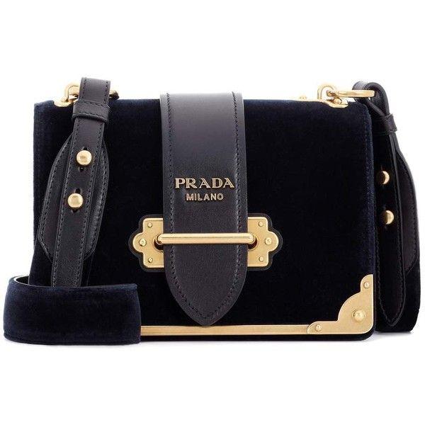 58abde80eb Prada Cahier Leather Velvet Bag (11,905 MYR) ❤ liked on Polyvore featuring  bags, handbags, shoulder bags, blue, navy blue shoulder bag, navy blue purse,  ...