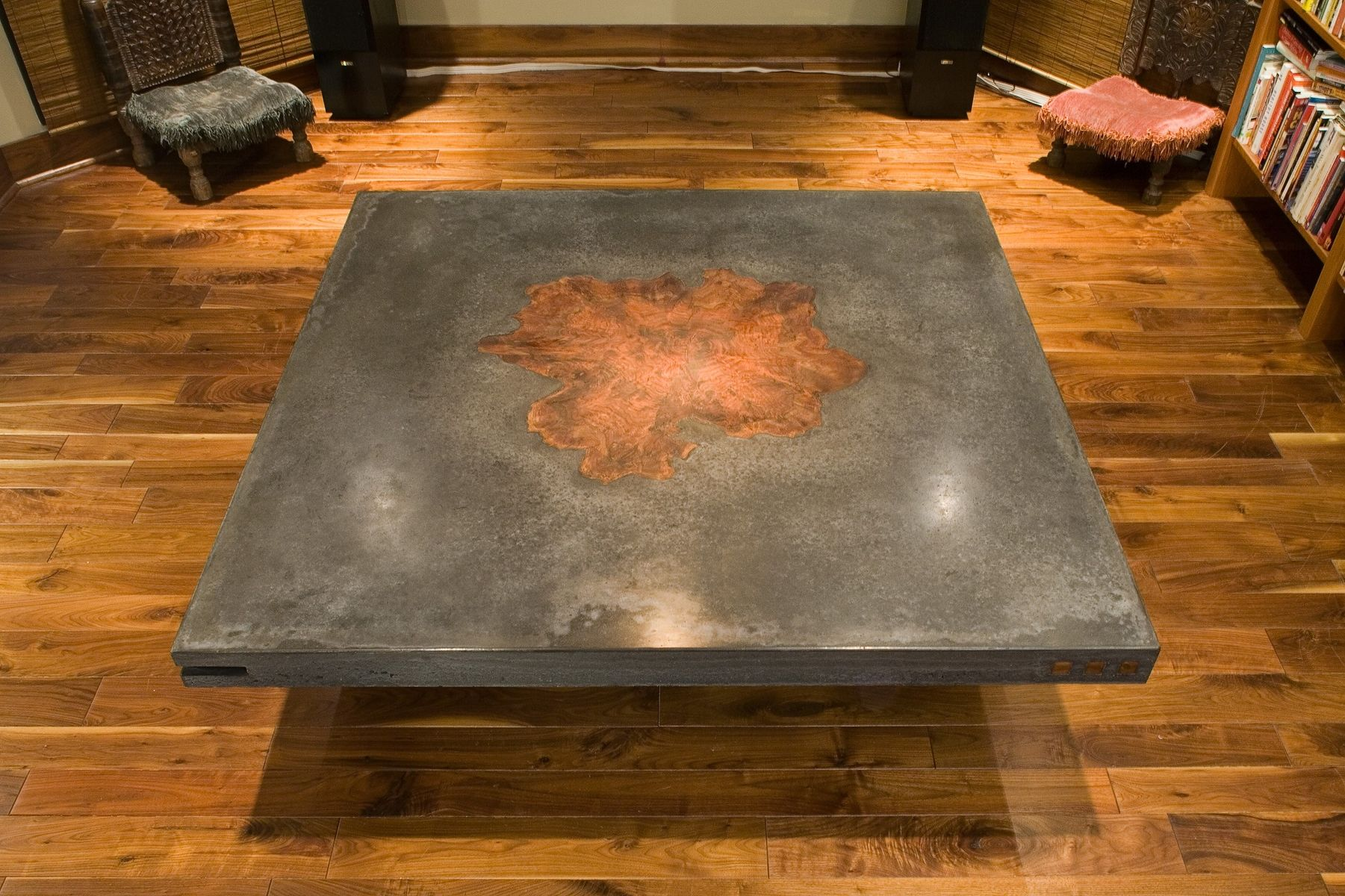 Concrete Table With Walnut Burl Inlay   Custom Made Dining Tables