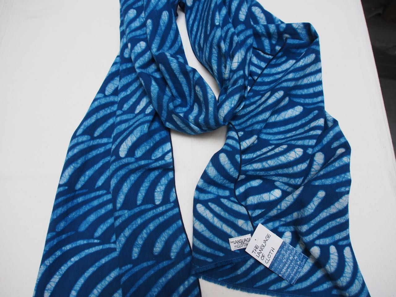Scarf, soy wax resist applied with brush, indigo dyed.