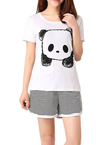 cf2a5fdc4e High quality snuggly panda pajamas. Stripey bottoms and a printed tee  effect top  white with a black panda face. Made from a polyester and cotton  mix.