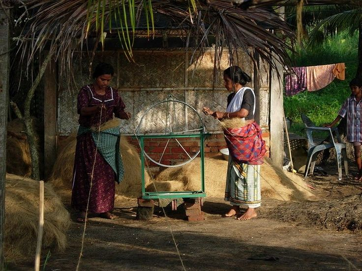 Women working at coir-spinning unit in Kollam