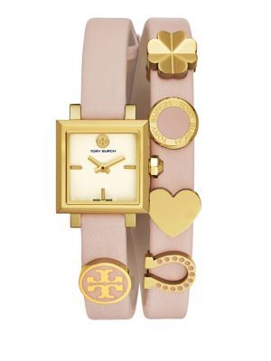 bf37cb3a5ba67 TORY BURCH Saucy Goldtone Stainless Steel   Double Wrap Leather-Strap Watch.   toryburch  watch