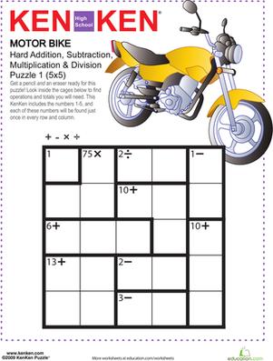 Motor Bike Kenken Puzzle High School Math Logic And Critical