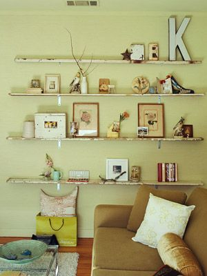 Neat distressed shelves