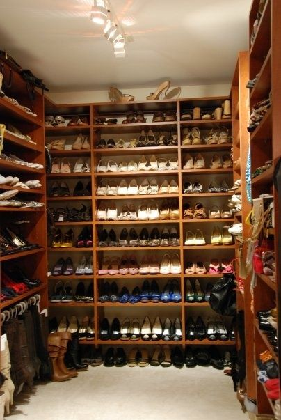 Classic Cognac Walk In Shoe Closet