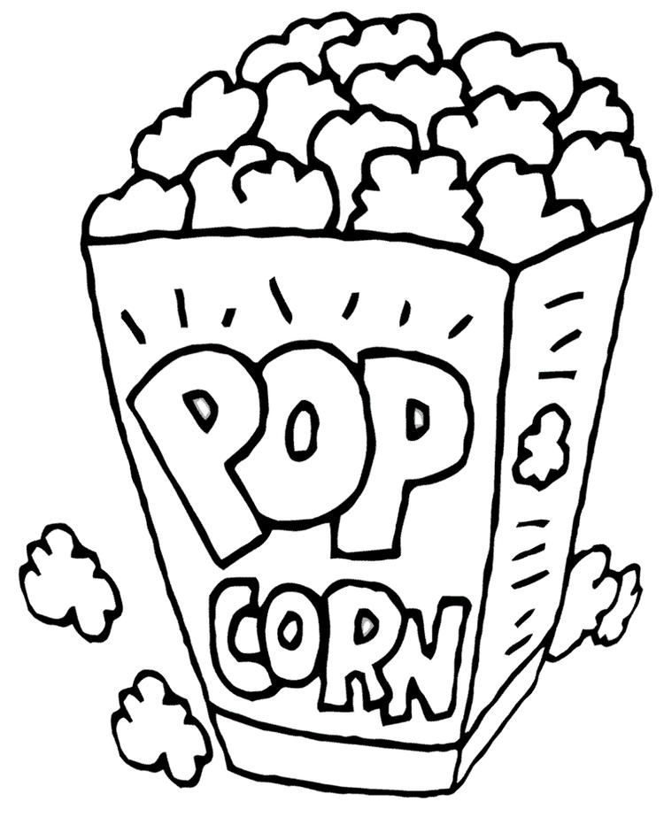 Pop Corn Coloring Printable Page Food coloring pages