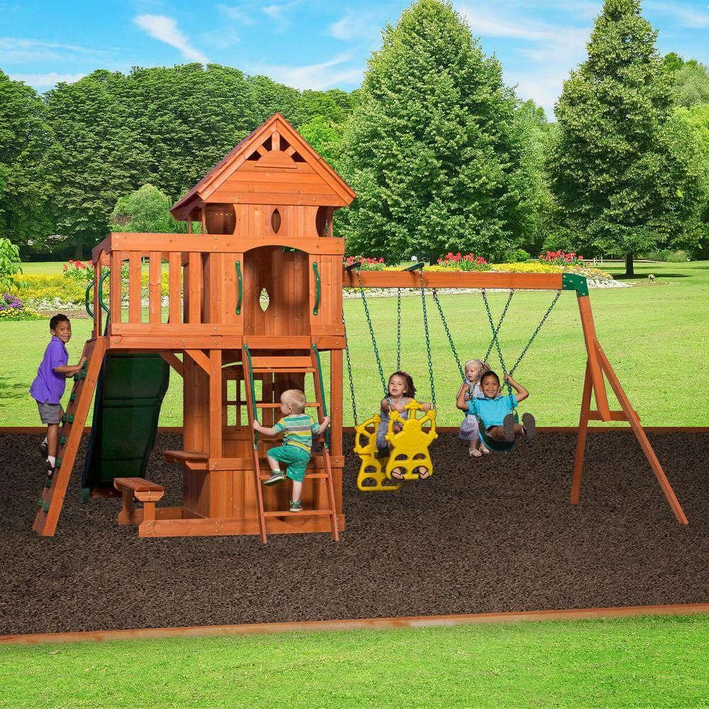 backyard discovery monterey all cedar playset browns tans