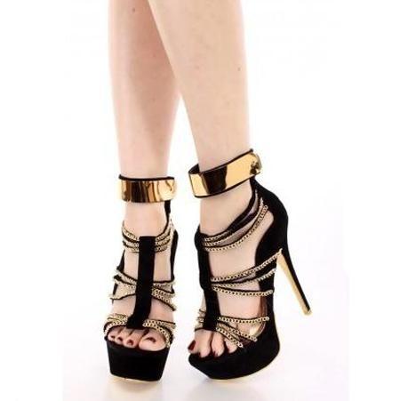 #FSJshoes - #FSJ Shoes Leila Black Metal Chains Wrapped Platform Stiletto Heels Sandals - AdoreWe.com