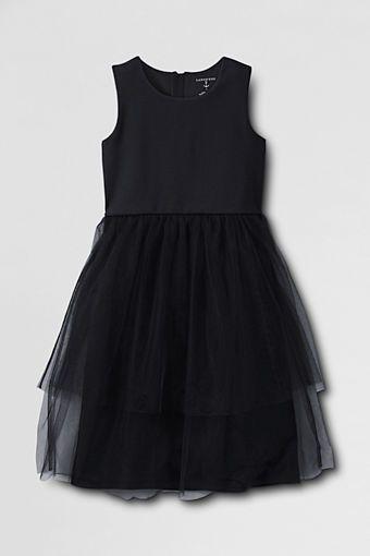 Girls' Sleeveless Ponté Tulle Dress from Lands' End