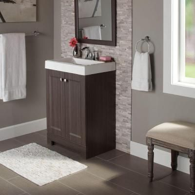 46e2b5b1271 Vanity in Silverleaf with Cultured Marble Vanity Top in White-PPSOFSVL24 -  The Home Depot