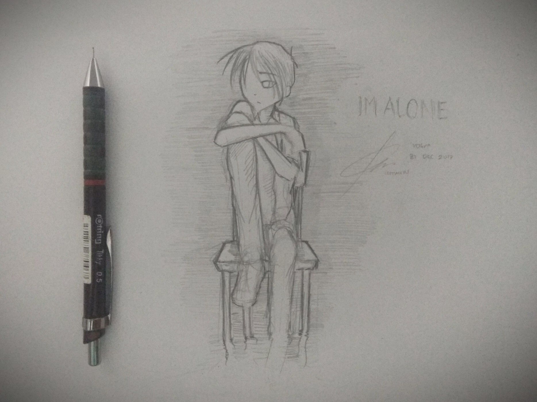 Alone alone draw pencil anime rotring