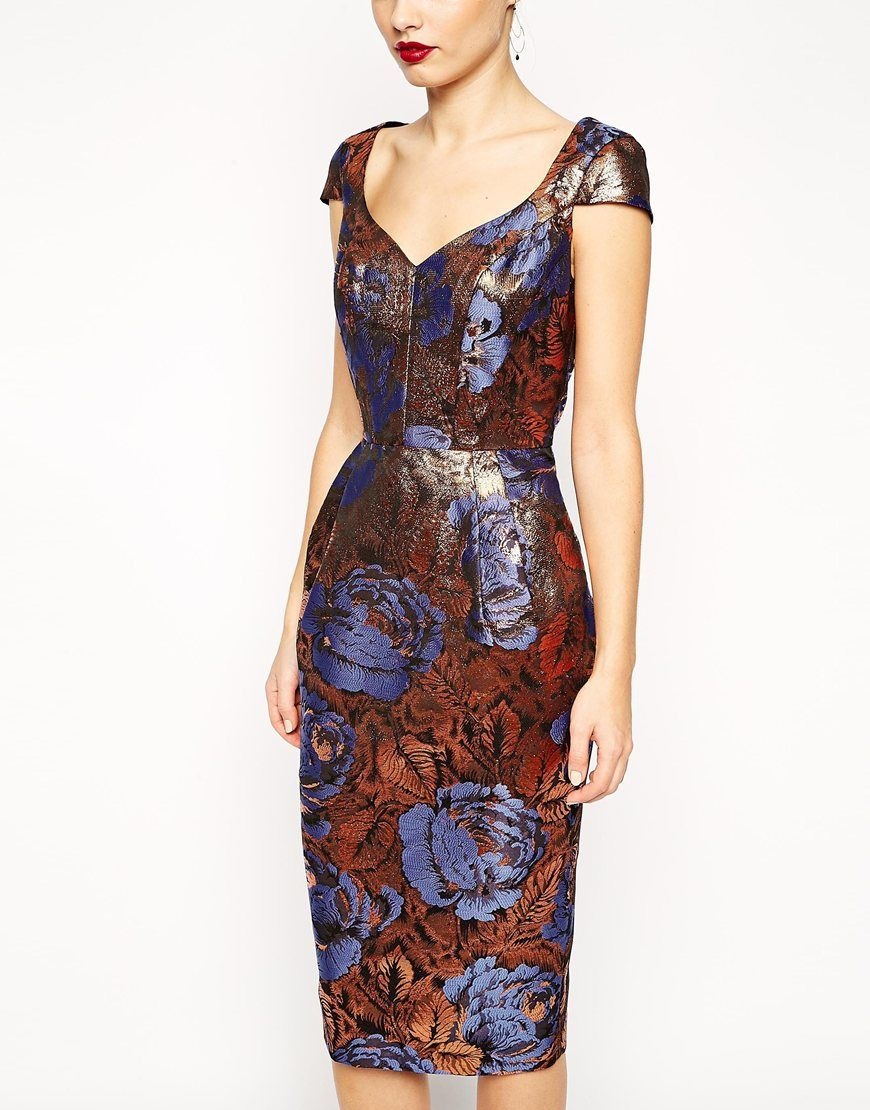 378a0c066f34 Image 3 of ASOS Foiled Jacquard Hitchcock Dress With Cap Sleeve ...