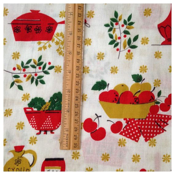 Delightful 1950s Novelty Print Kitchen Fabric by FadedFlappers