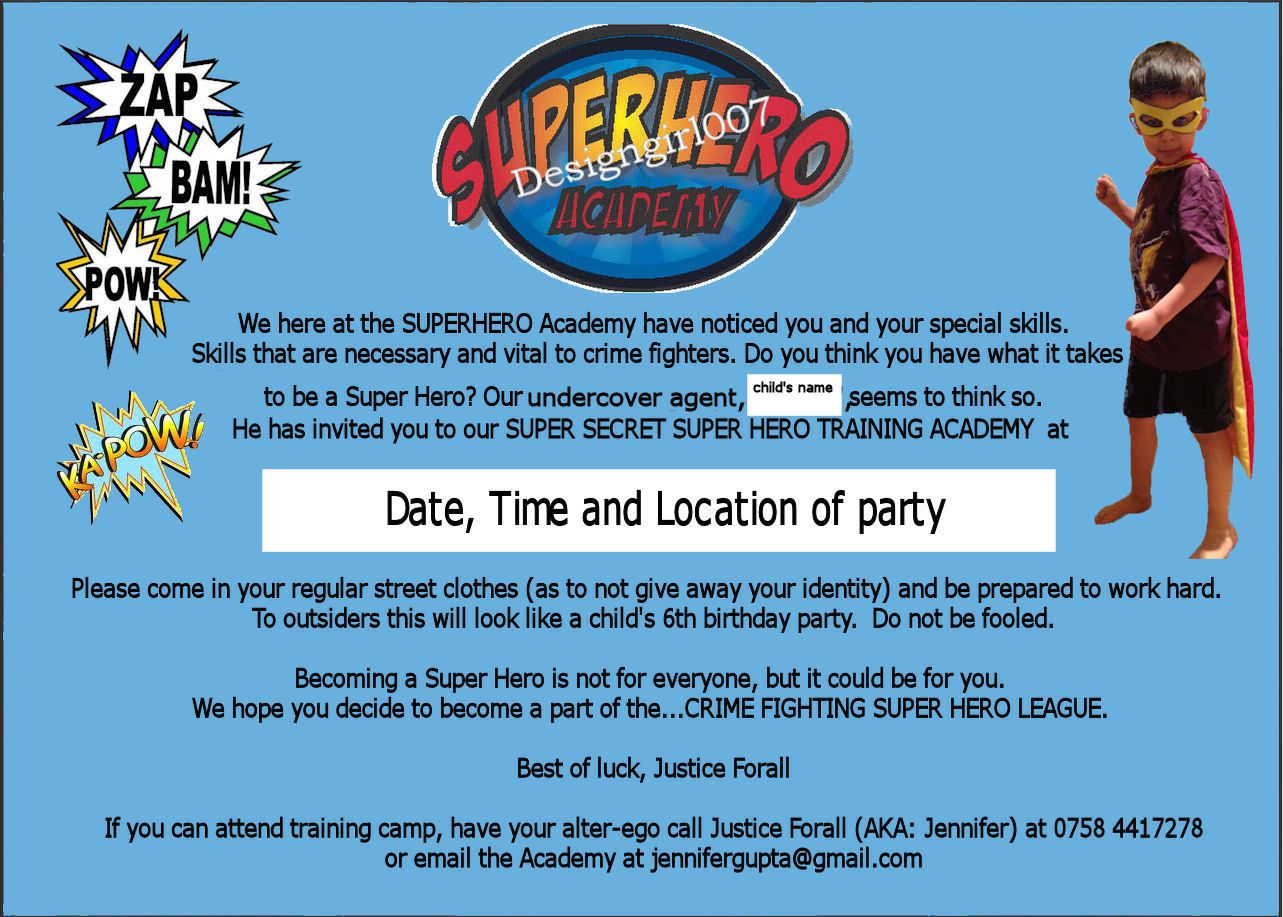 Superhero Newspaper Invitation Wording