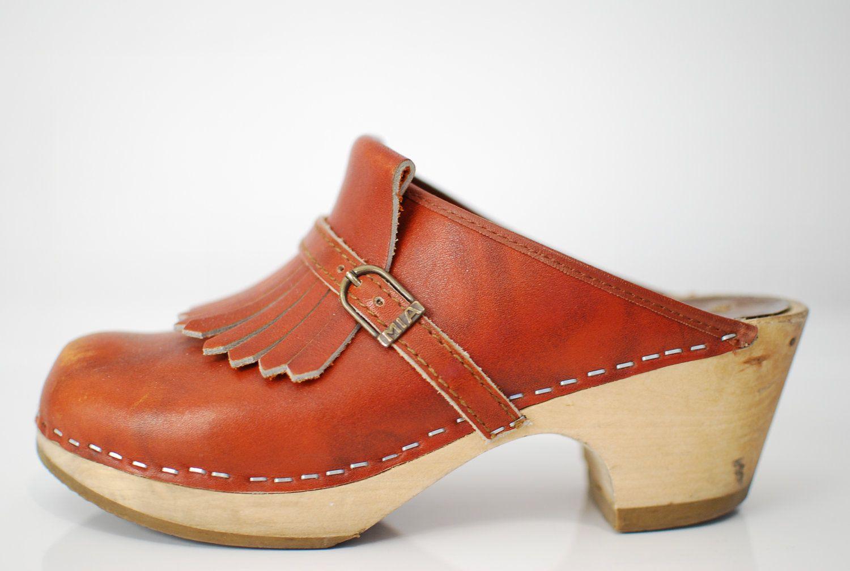 be7344005b Vintage 1970s   MIA   fringe   clogs   Sweden   Swedish   wood soles   7.   42.00