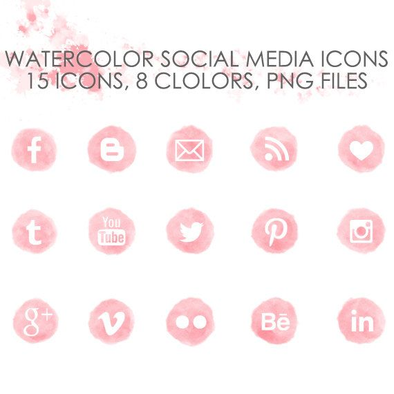 Pink Watercolor Social Media Icon Set
