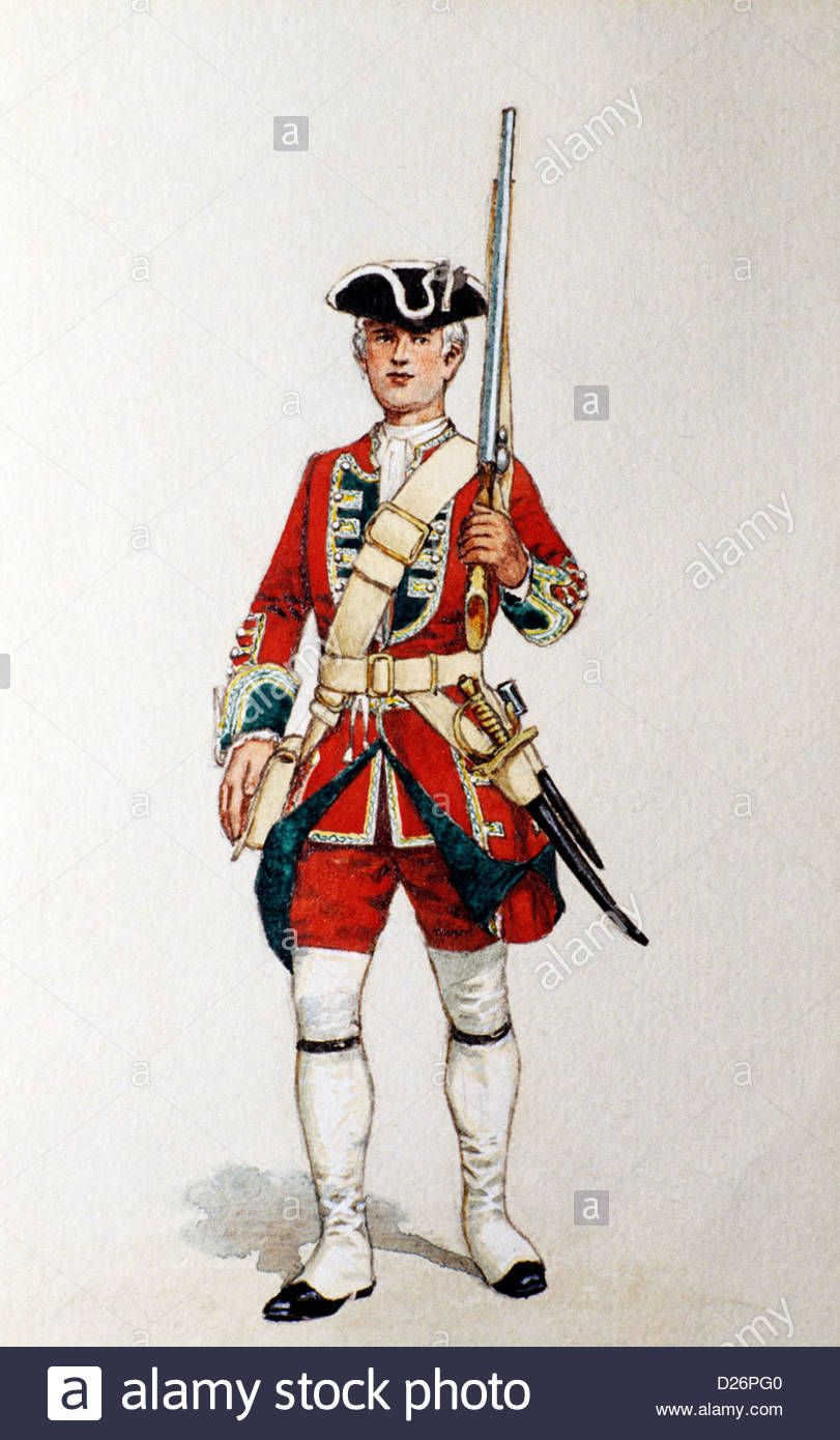 Download this stock image: British Military Print, Redcoat, Green ...