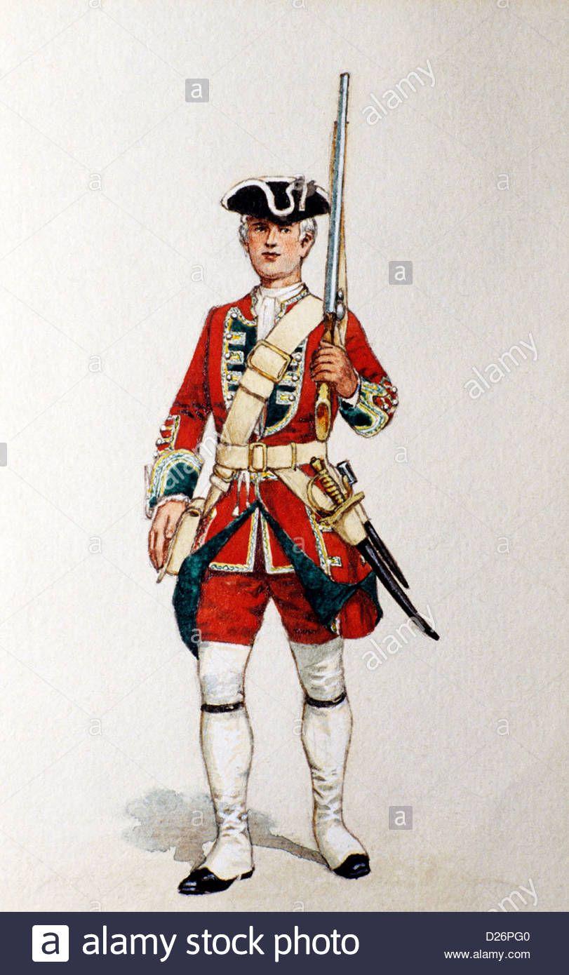 Download this stock image: British Military Print, Redcoat, Green ...
