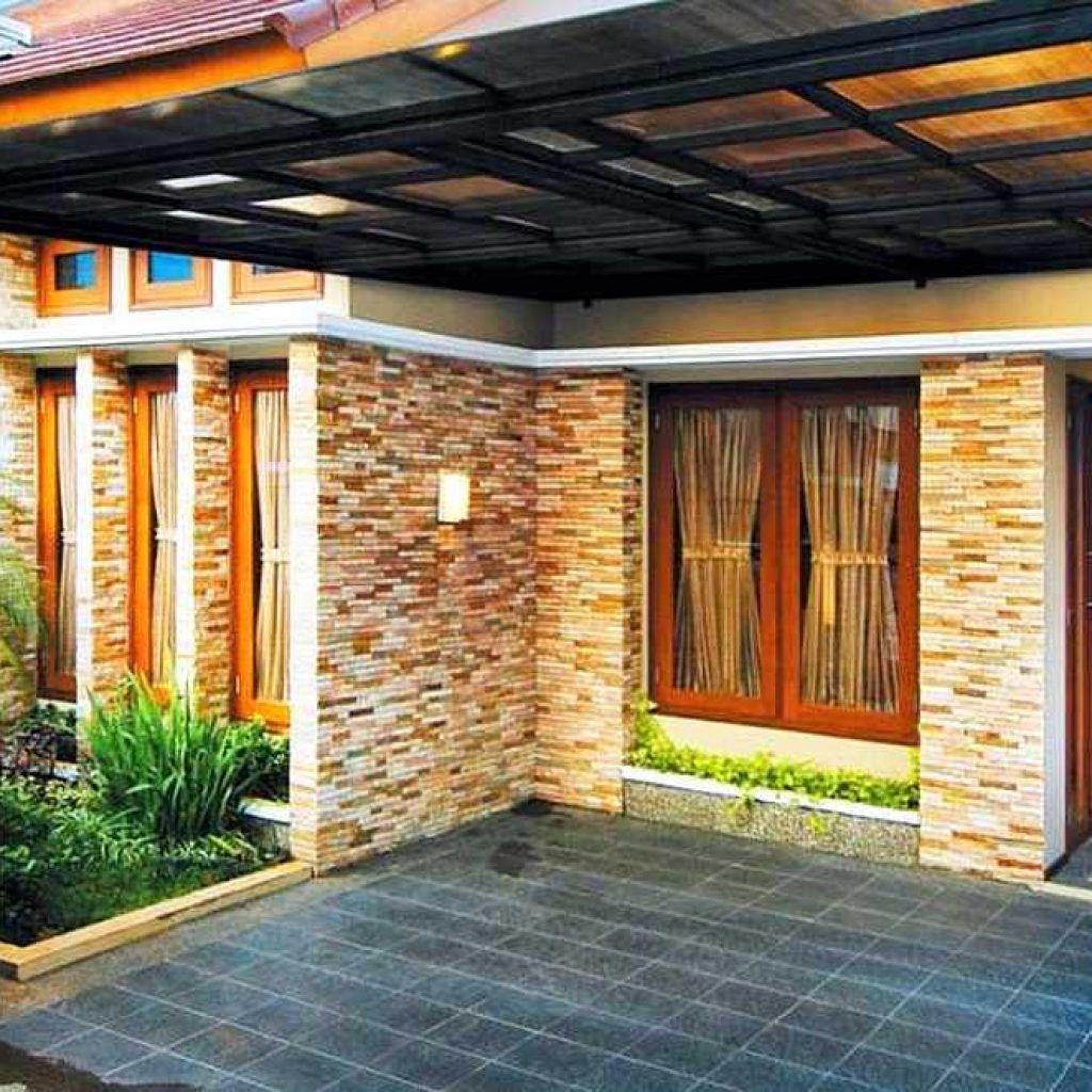Desain Batu Alam Tiang Teras Rumah