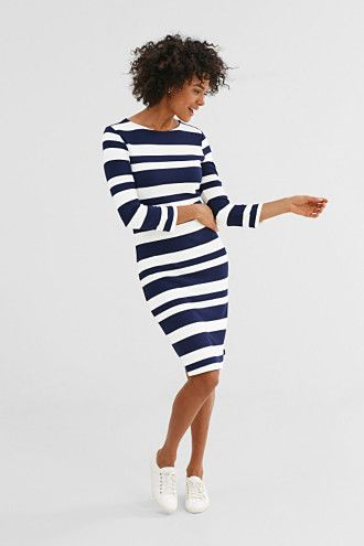 EDC / Gestreepte jersey jurk met stretch