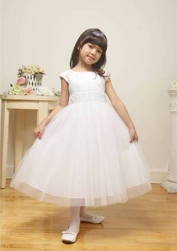 """Grace"", a sweet modest flower girl dress, featuring satin bodice, beaded waist detailing and layers of soft tulle.  Available in white. Also available in pink and ivory by preorder only."