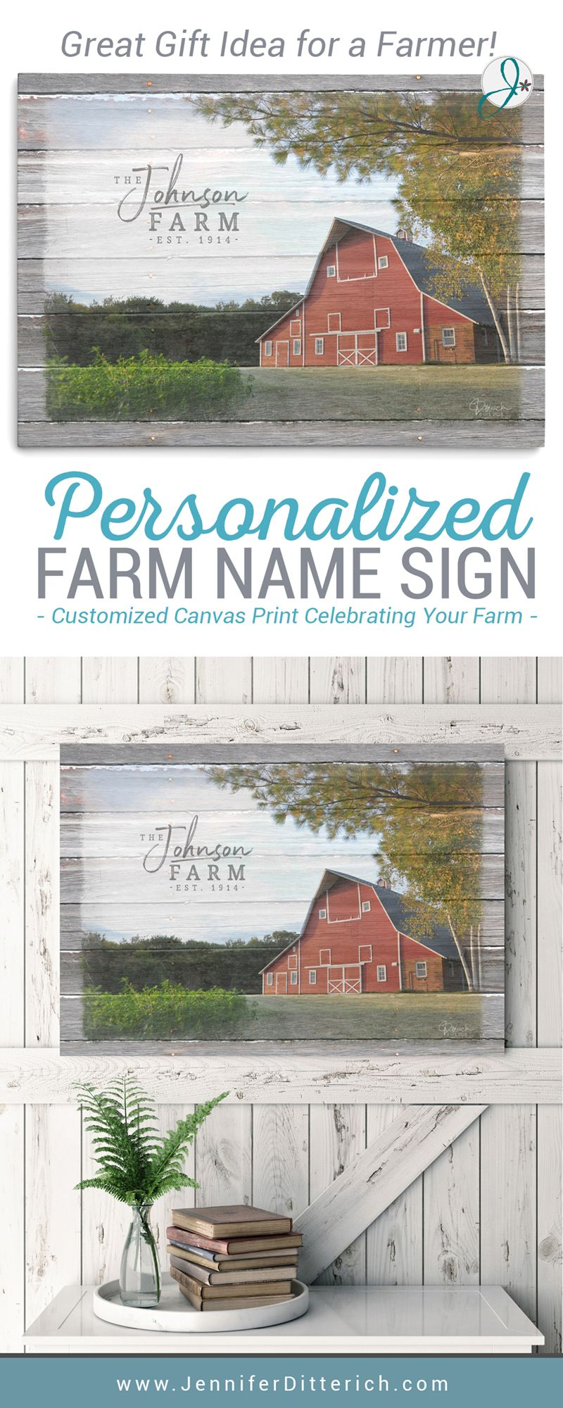 Personalized Farm Name Sign - Canvas Print | Farmhouse living rooms ...