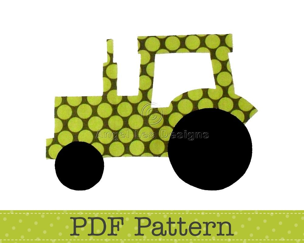 Tractor Applique Template, Transport, Farm, DIY, Children