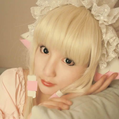 Blond Long Straight Clamp Chobits Cosplay Hair Extension Wig Women SKU-158288