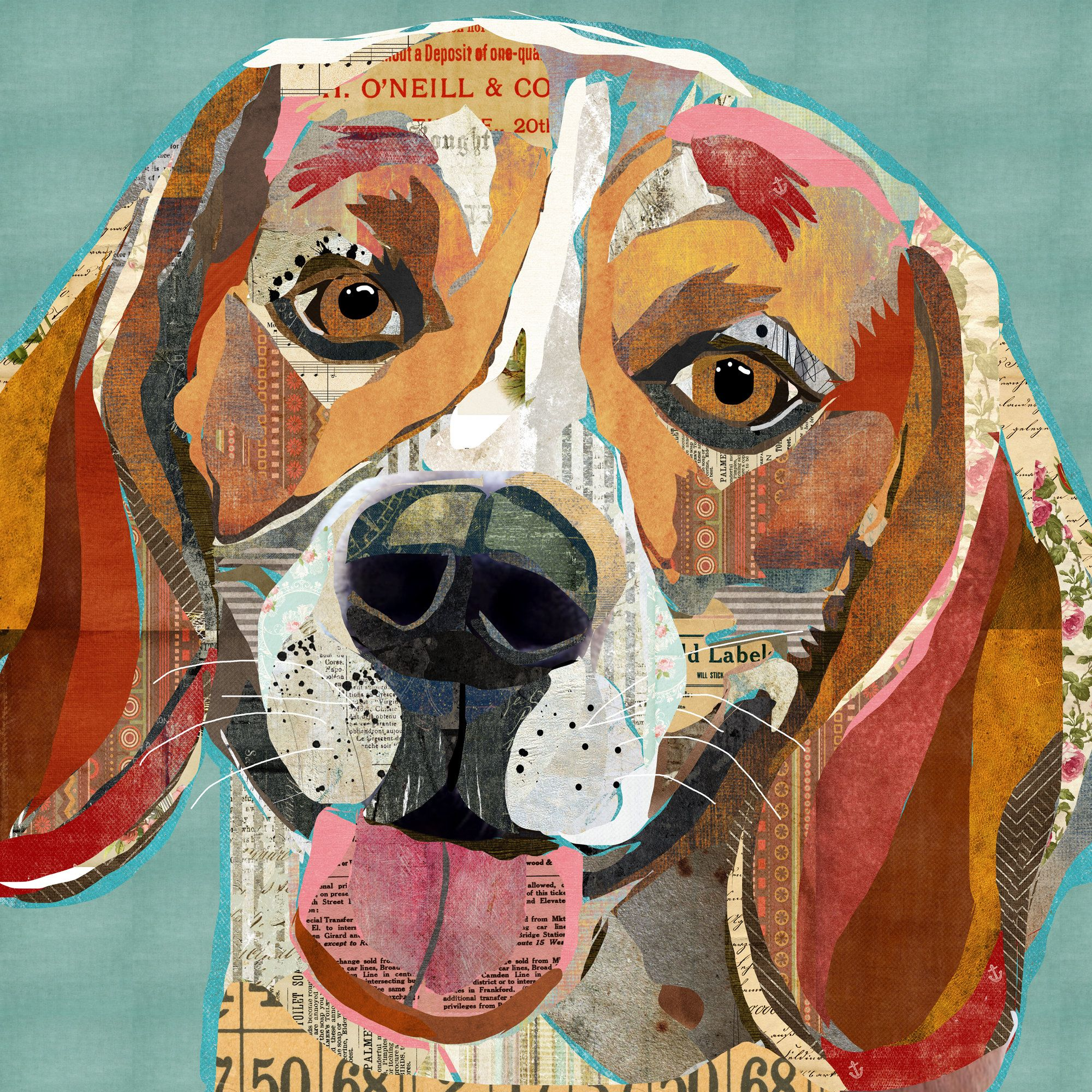 Cheerful Beagle Collage Art Vintage And Rustic Style Dog Breed