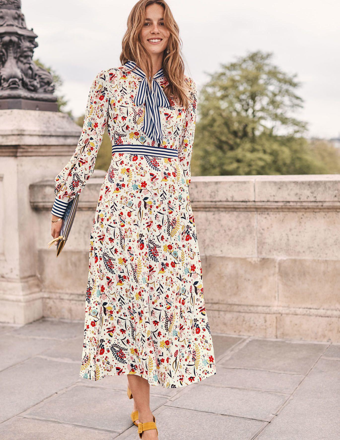Boden Thelma Midi Dress Ivory Whimsical Bird Womens Winter Dresses Dresses Whimsical Fashion