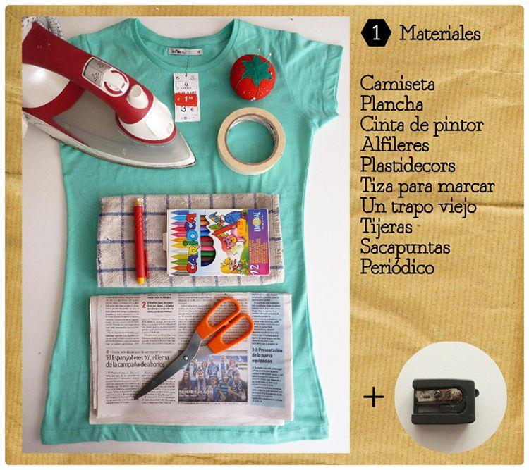Estampar camisetas con crayolas inspiraci n pinterest - Decorar camisetas basicas ...