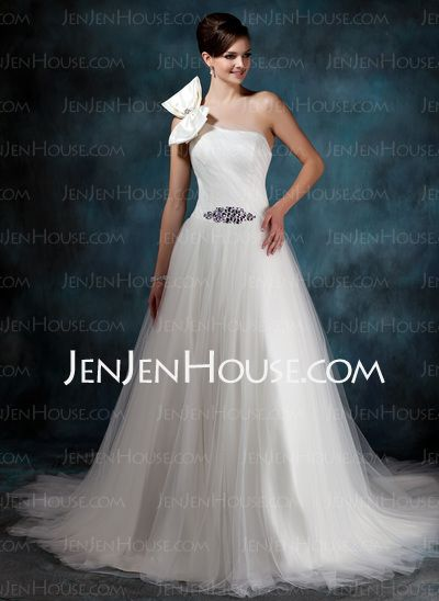 Wedding Dresses - $169.29 - Ball-Gown One-Shoulder Court Train Satin Tulle Wedding Dress With Ruffle Beadwork (002011944) http://jenjenhouse.com/Ball-Gown-One-Shoulder-Court-Train-Satin-Tulle-Wedding-Dress-With-Ruffle-Beadwork-002011944-g11944