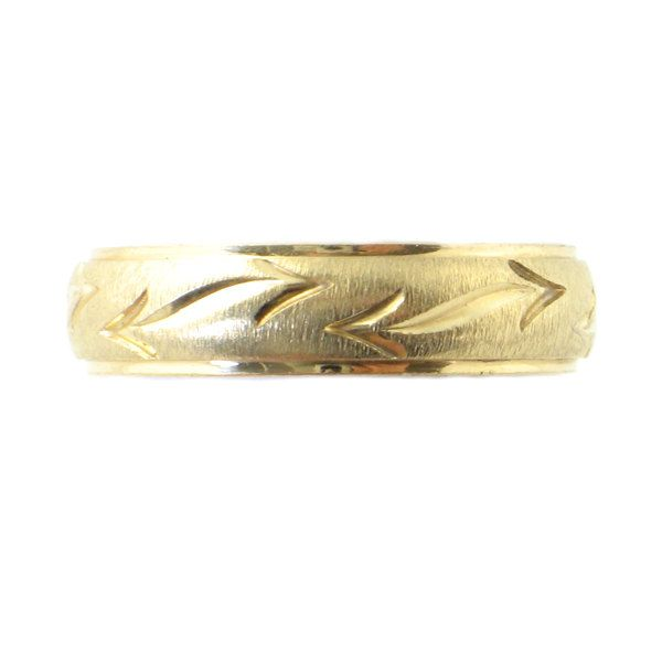 Mens 14K Gold Wedding Band With Decorative Pattern O Ring By Frederick Goldman