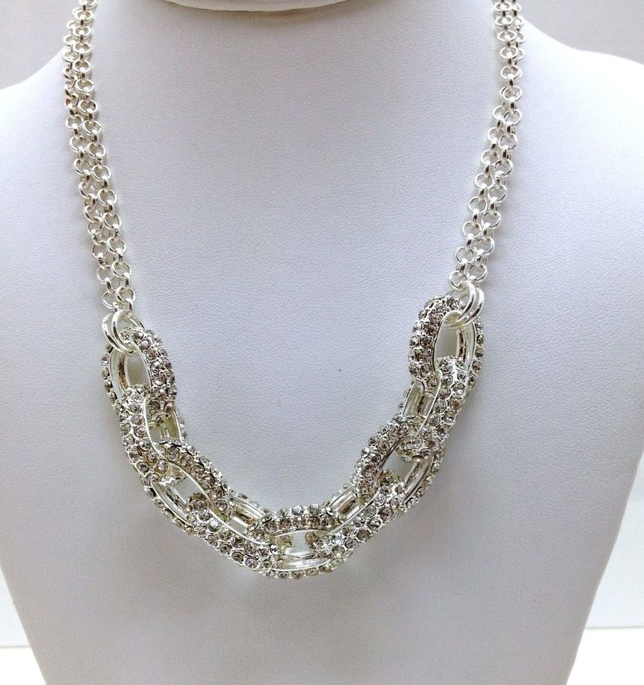 NEW Gorgeous Pave Crystal Link Chain Statement Necklace Dress ...