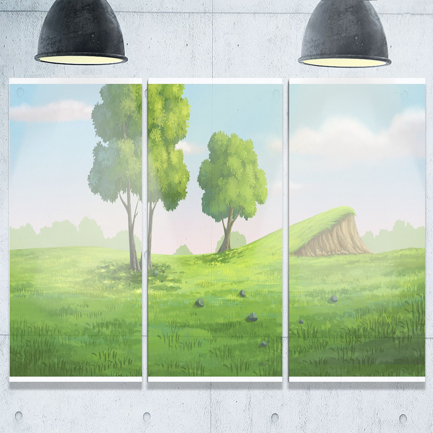 Designart - Garden with Mound and Trees - Oversized Landscape Glossy Metal Wall Art