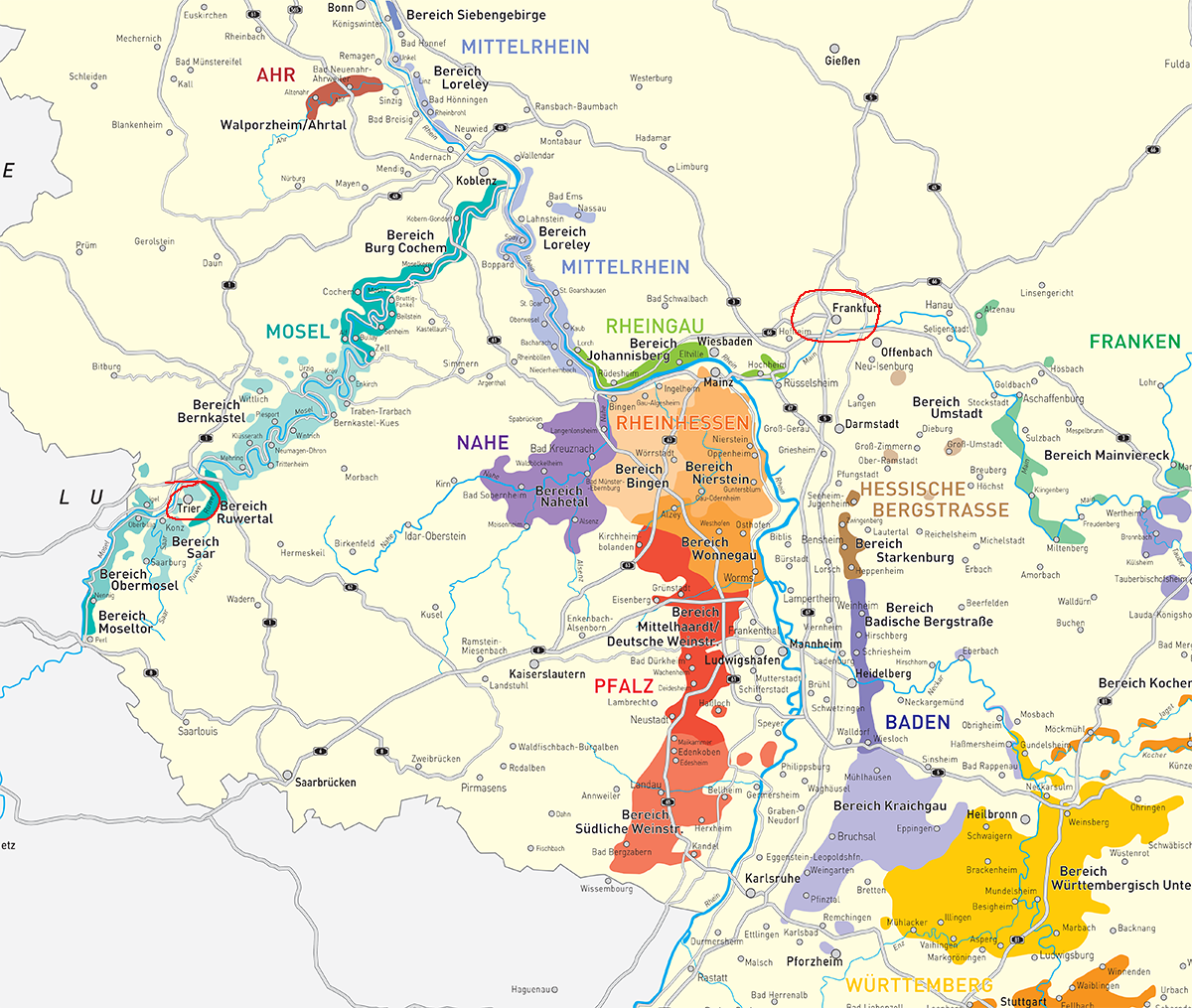 Carte Vin Allemagne.Guide To Riesling Wine Maps Cartes De Vin Riesling
