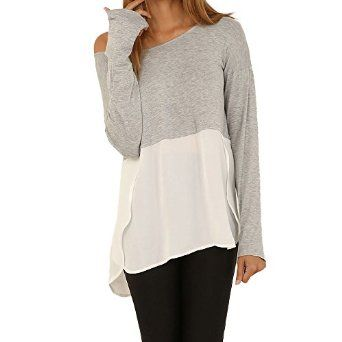 0efb6940010 Vanberfia Women s Plus Size Casual Long Sleeve Chiffon Patchwok Shirts and  Blouses at Amazon Women s Clothing store