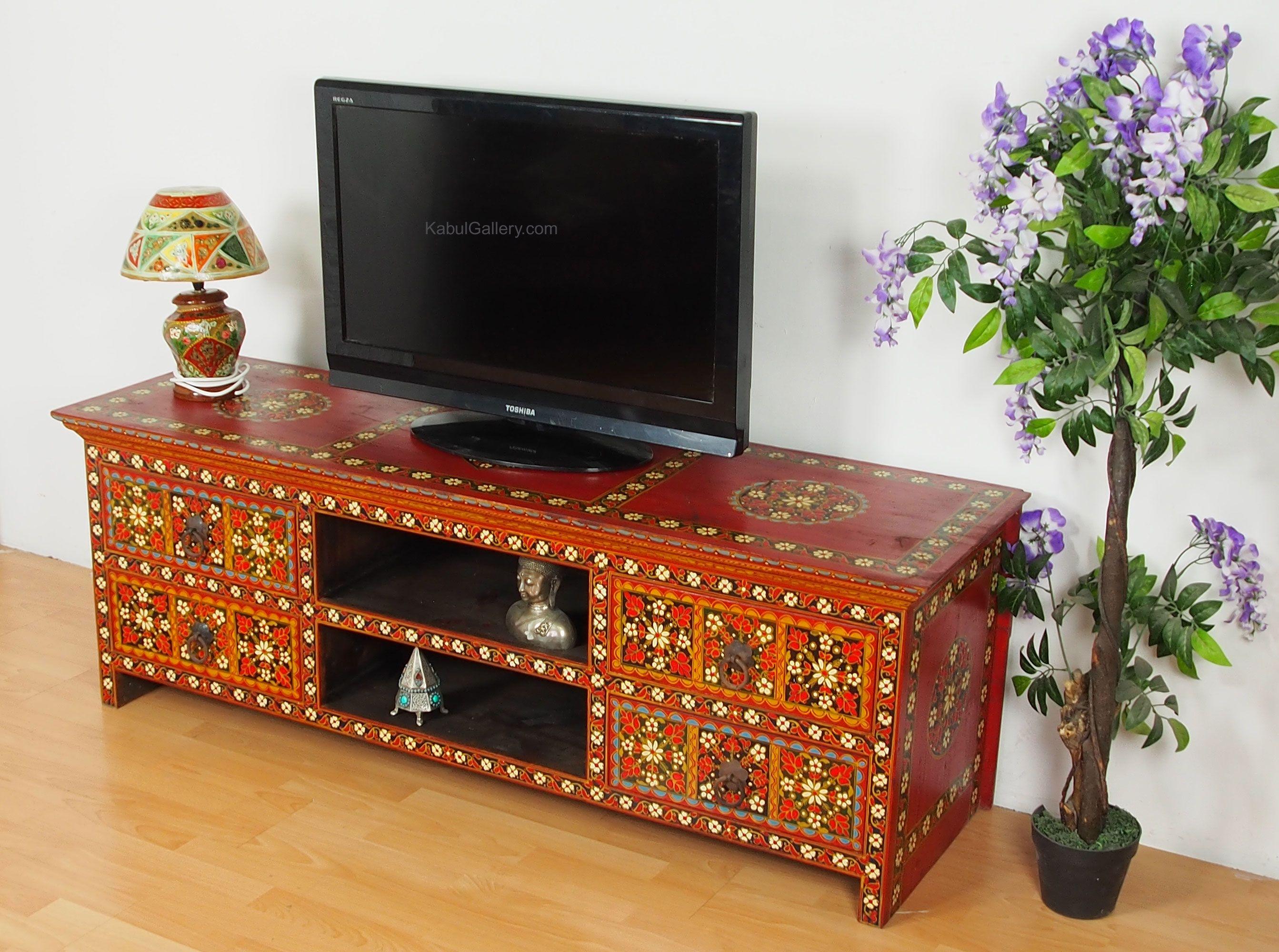 Antik Look Orient Wohnzimmerschrank Schrank Bauernschrank Fernseh