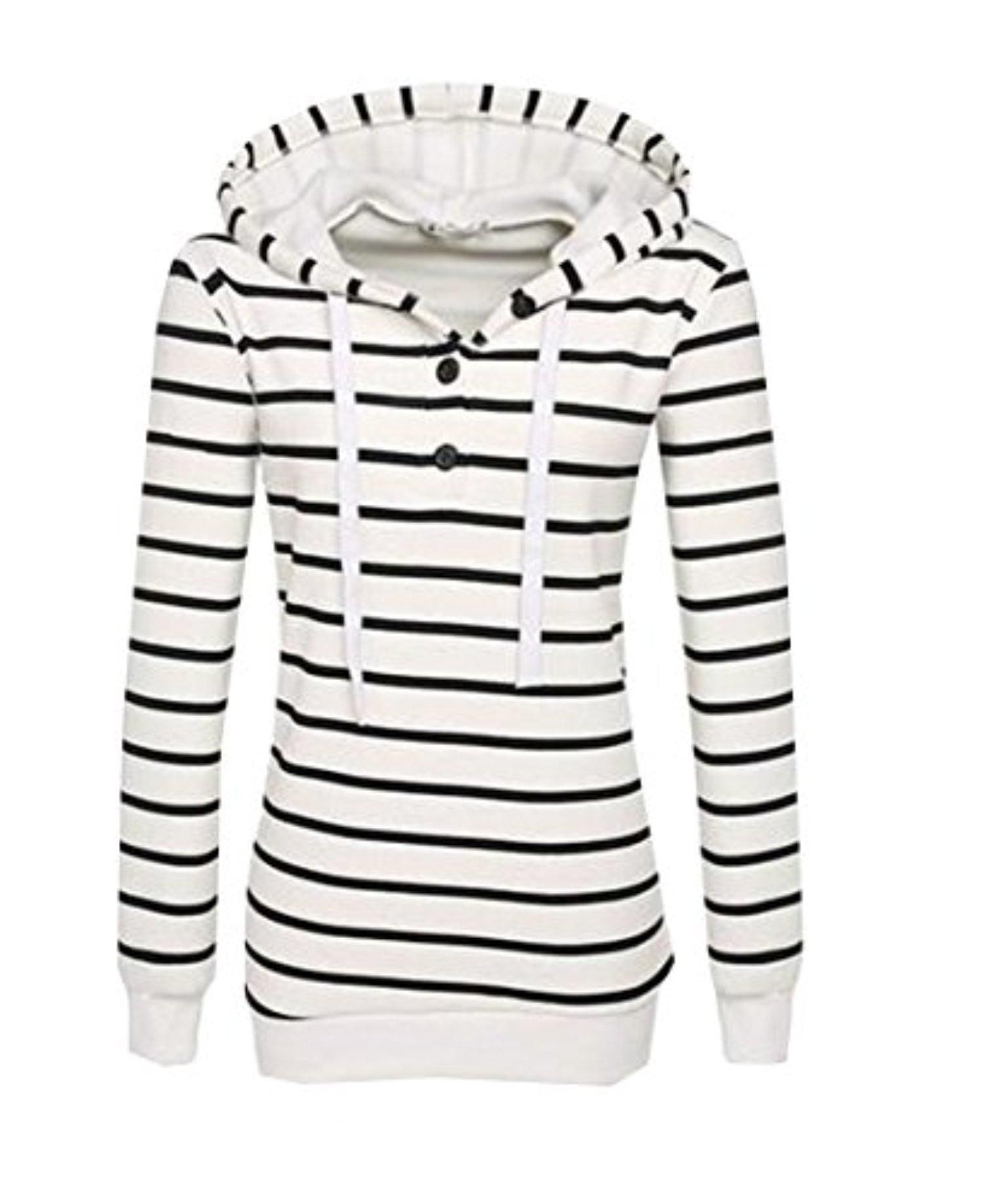 Abetteric Women's Striped Drawstring Hooded Pullover Hoodie Top White XXS - Brought to you by Avarsha.com