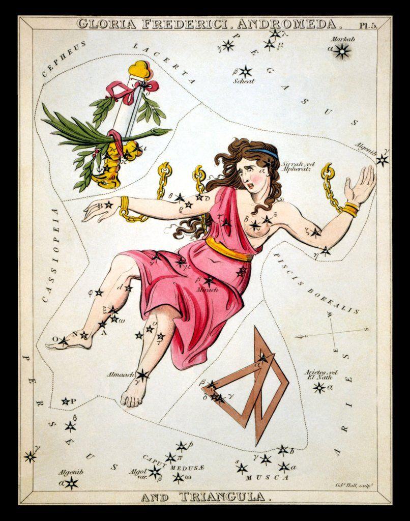Andromeda Constellation Zodiac Star Chart Astronomy Astrology