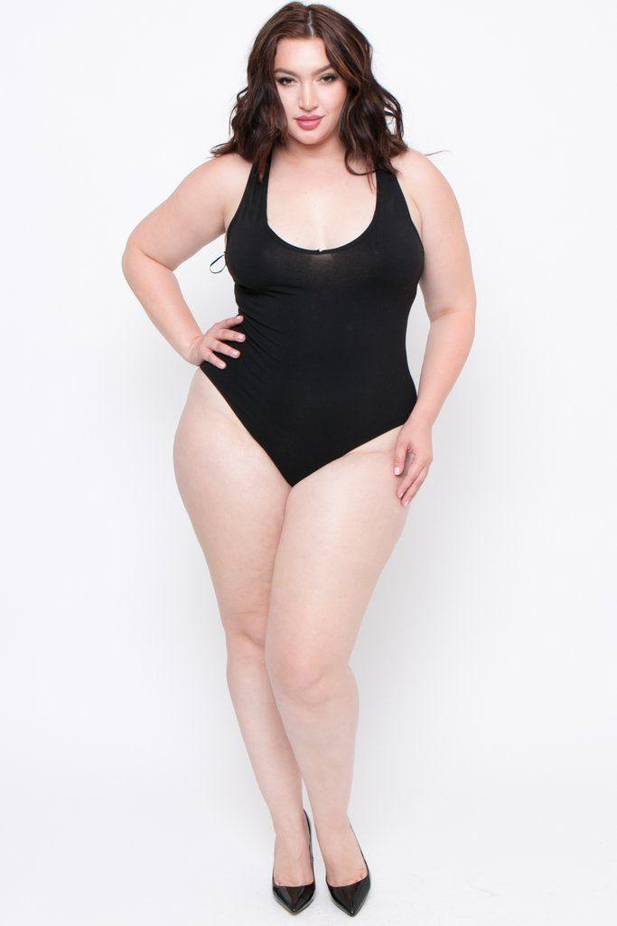 Photo of Plus Size V-Neck Bodysuit – Black