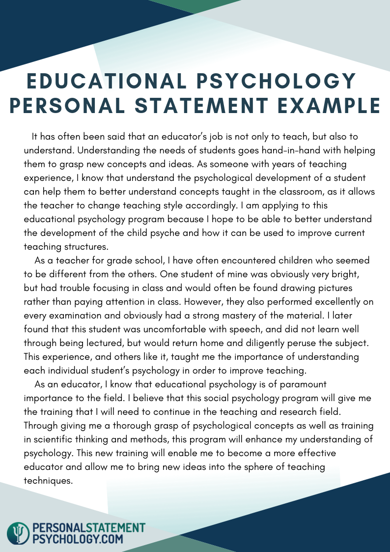 Educational Psychology Personal Statement Example Writing A For Masters