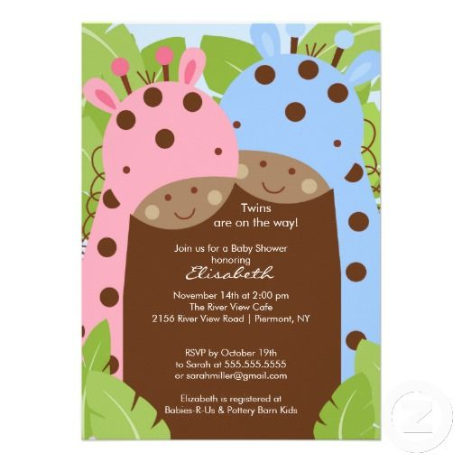 twins giraffe baby shower invitation boy girl  giraffe baby, Baby shower invitation