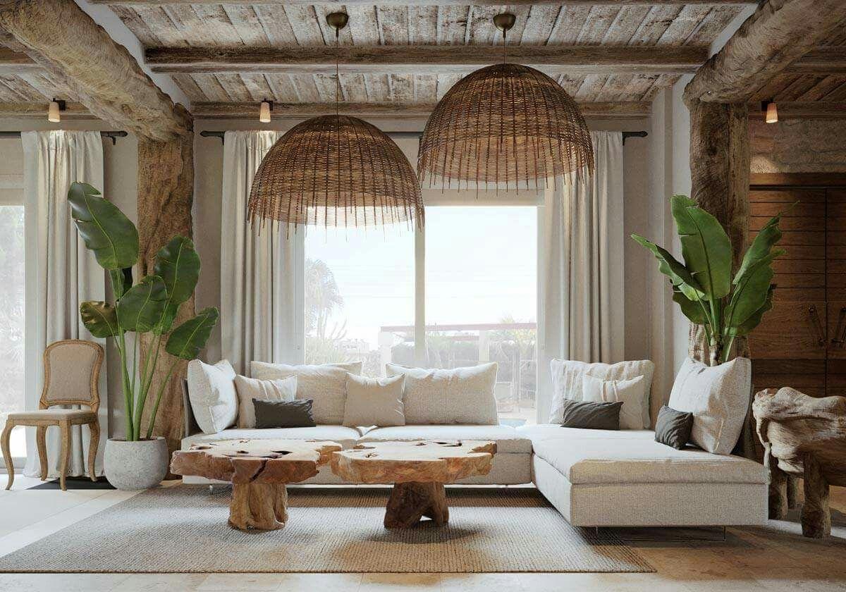 Natural Living Room Woven Lampshades Boho Living Room Decor