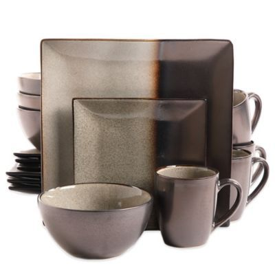 Gibson Kaidence 16-Piece Dinnerware Set in Brown - BedBathandBeyond.com  sc 1 st  Pinterest : gibson dinner plates - pezcame.com