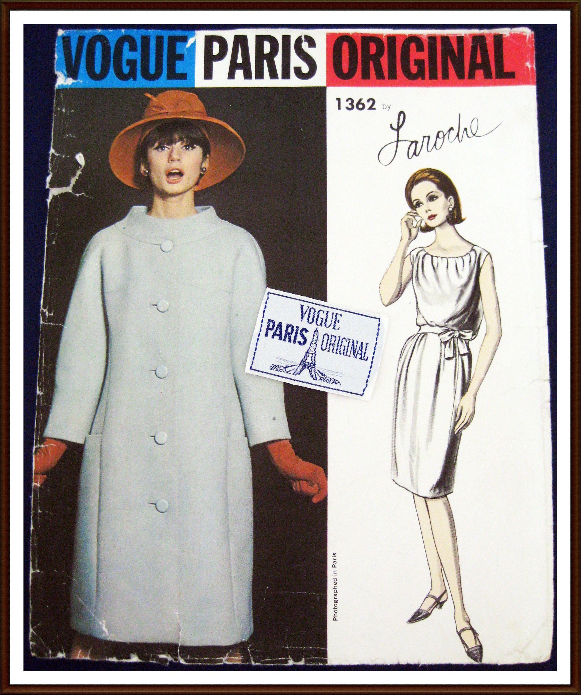 Vogue Paris Original Pattern 1362 1960s Laroche Dress Coat Jpg