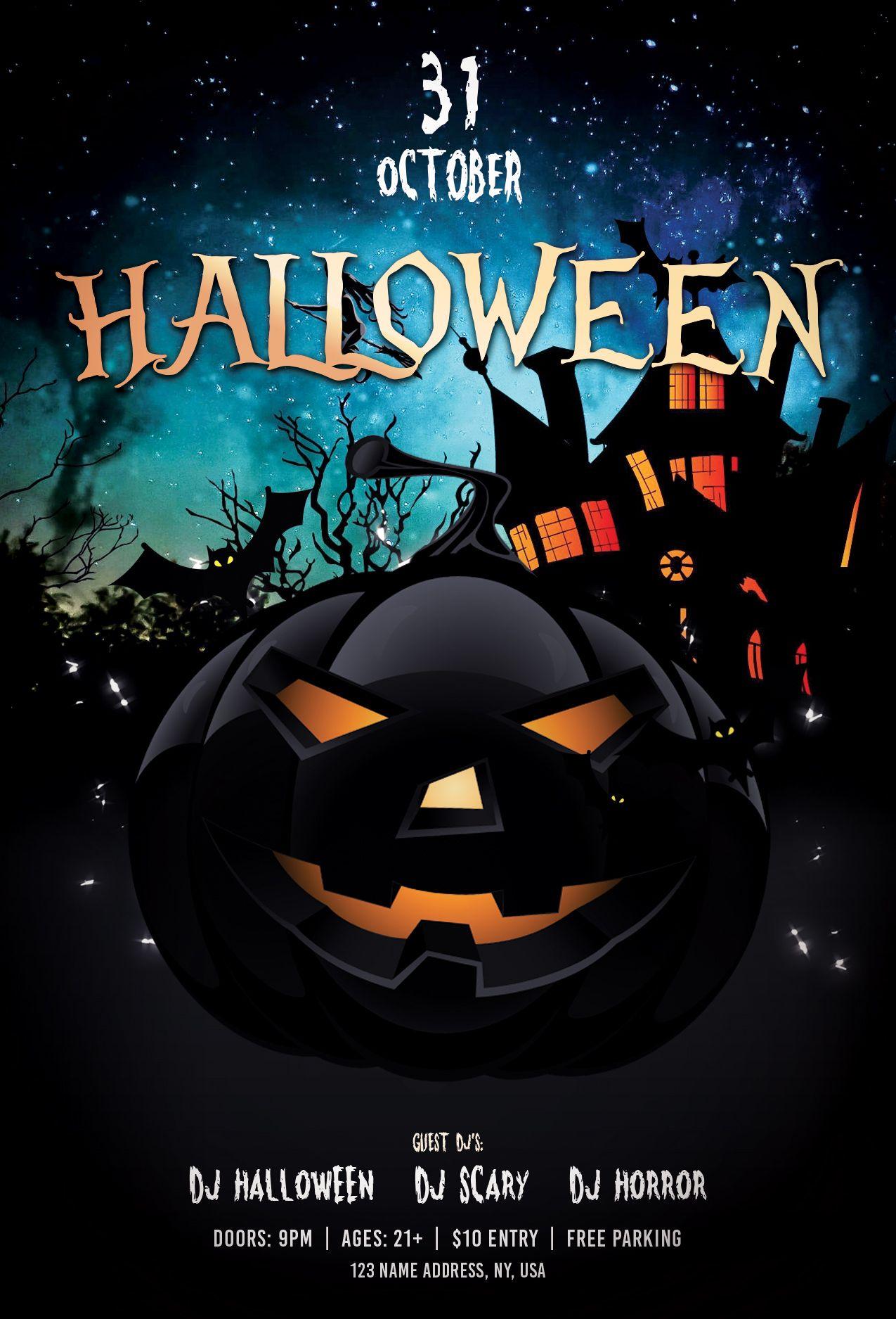 Halloween Party Free PSD Flyer Template Halloween